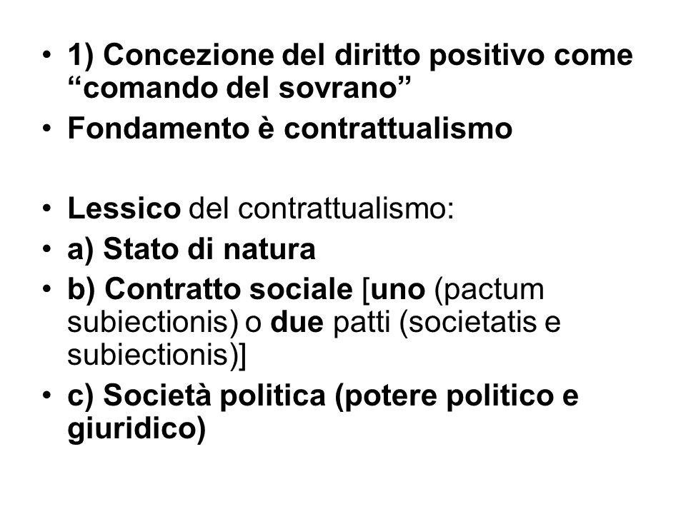 1) Concezione del diritto positivo come comando del sovrano Fondamento è contrattualismo Lessico del contrattualismo: a) Stato di natura b) Contratto