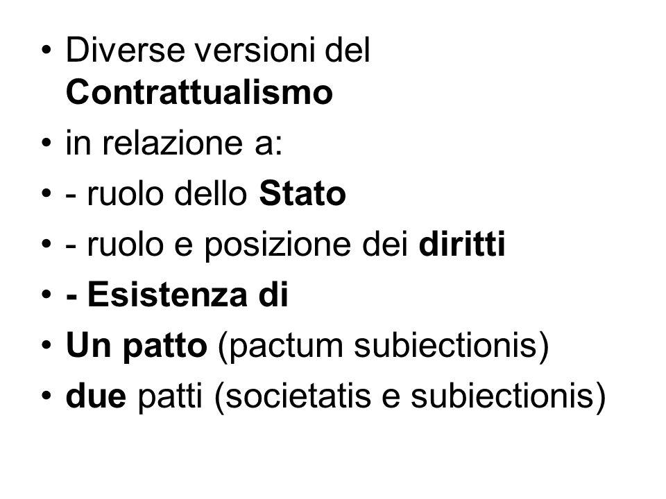 Diverse versioni del Contrattualismo in relazione a: - ruolo dello Stato - ruolo e posizione dei diritti - Esistenza di Un patto (pactum subiectionis)