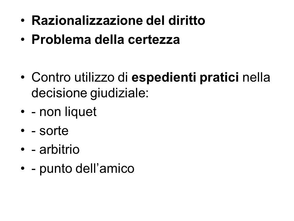 Razionalizzazione del diritto Problema della certezza Contro utilizzo di espedienti pratici nella decisione giudiziale: - non liquet - sorte - arbitri
