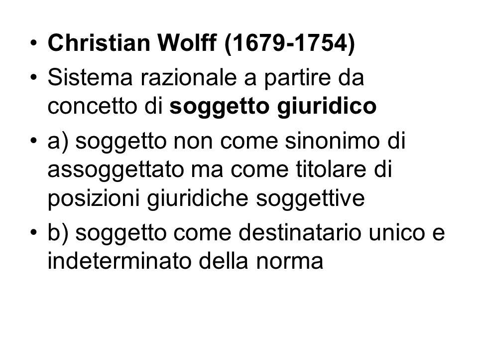 Christian Wolff (1679-1754) Sistema razionale a partire da concetto di soggetto giuridico a) soggetto non come sinonimo di assoggettato ma come titola