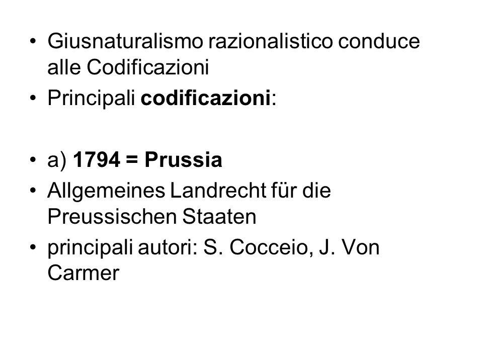 Giusnaturalismo razionalistico conduce alle Codificazioni Principali codificazioni: a) 1794 = Prussia Allgemeines Landrecht für die Preussischen Staat