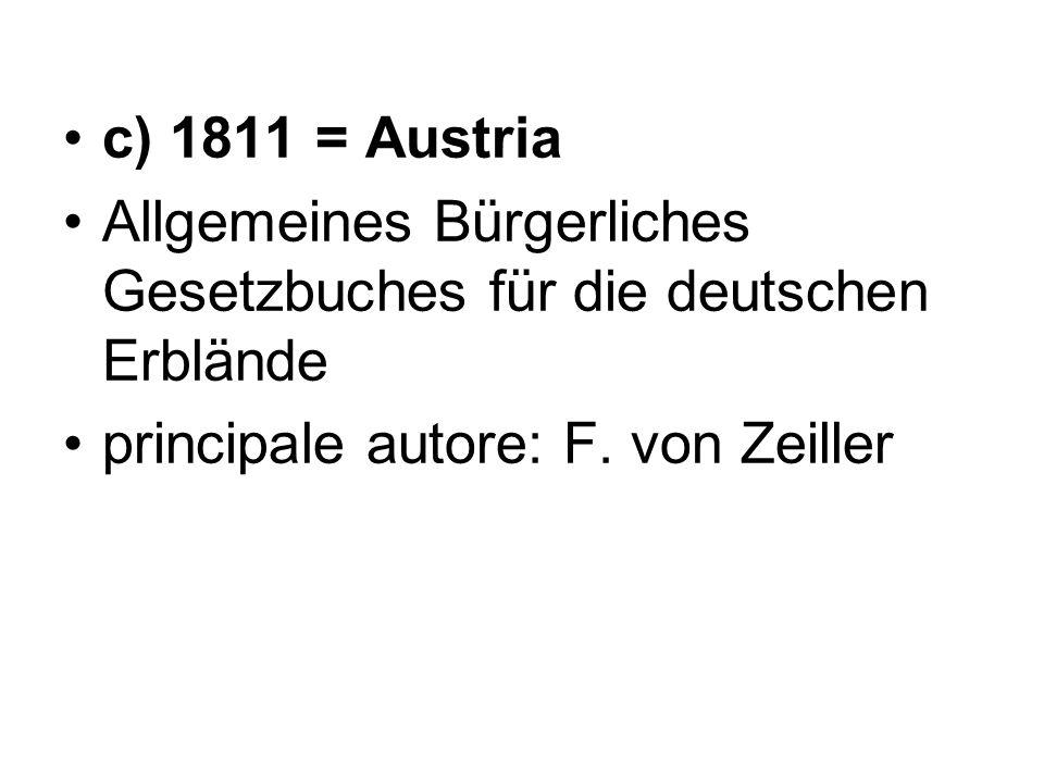c) 1811 = Austria Allgemeines Bürgerliches Gesetzbuches für die deutschen Erblände principale autore: F. von Zeiller