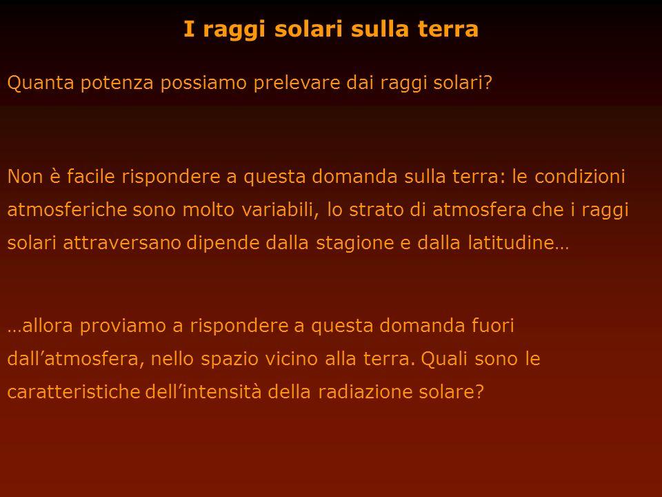 I raggi solari sulla terra Quanta potenza possiamo prelevare dai raggi solari? …allora proviamo a rispondere a questa domanda fuori dallatmosfera, nel
