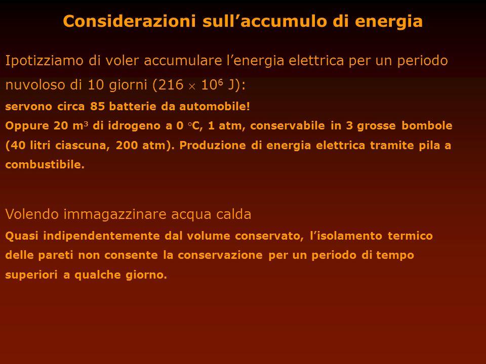 Considerazioni sullaccumulo di energia Ipotizziamo di voler accumulare lenergia elettrica per un periodo nuvoloso di 10 giorni (216 10 6 J): servono c