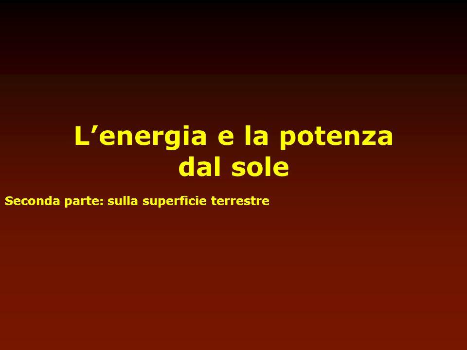 Lenergia e la potenza dal sole Seconda parte: sulla superficie terrestre