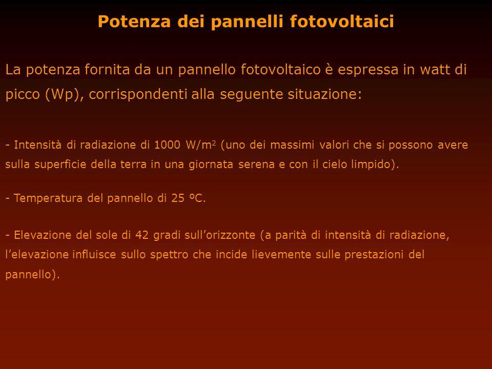 Potenza dei pannelli fotovoltaici La potenza fornita da un pannello fotovoltaico è espressa in watt di picco (Wp), corrispondenti alla seguente situaz