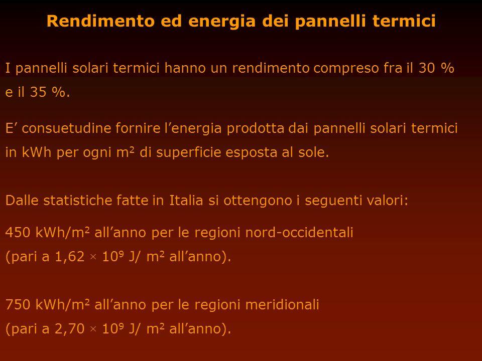 Rendimento ed energia dei pannelli termici I pannelli solari termici hanno un rendimento compreso fra il 30 % e il 35 %. E consuetudine fornire lenerg