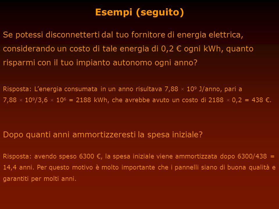 Esempi (seguito) Se potessi disconnetterti dal tuo fornitore di energia elettrica, considerando un costo di tale energia di 0,2 ogni kWh, quanto rispa