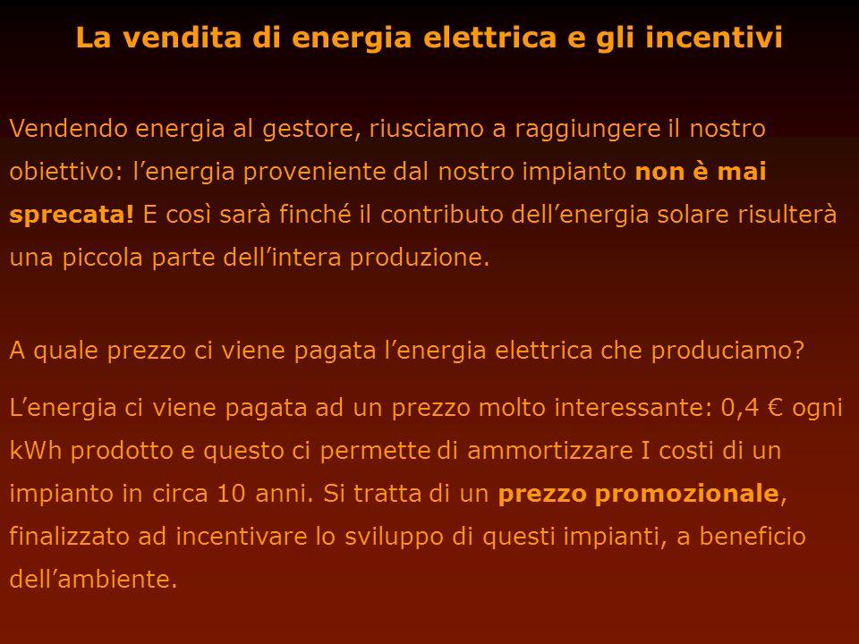 La vendita di energia elettrica e gli incentivi Vendendo energia al gestore, riusciamo a raggiungere il nostro obiettivo: lenergia proveniente dal nos