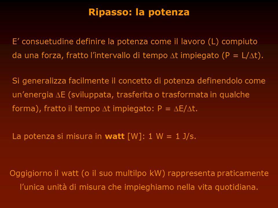 Ripasso: la potenza E consuetudine definire la potenza come il lavoro (L) compiuto da una forza, fratto lintervallo di tempo t impiegato (P = L/t). Si