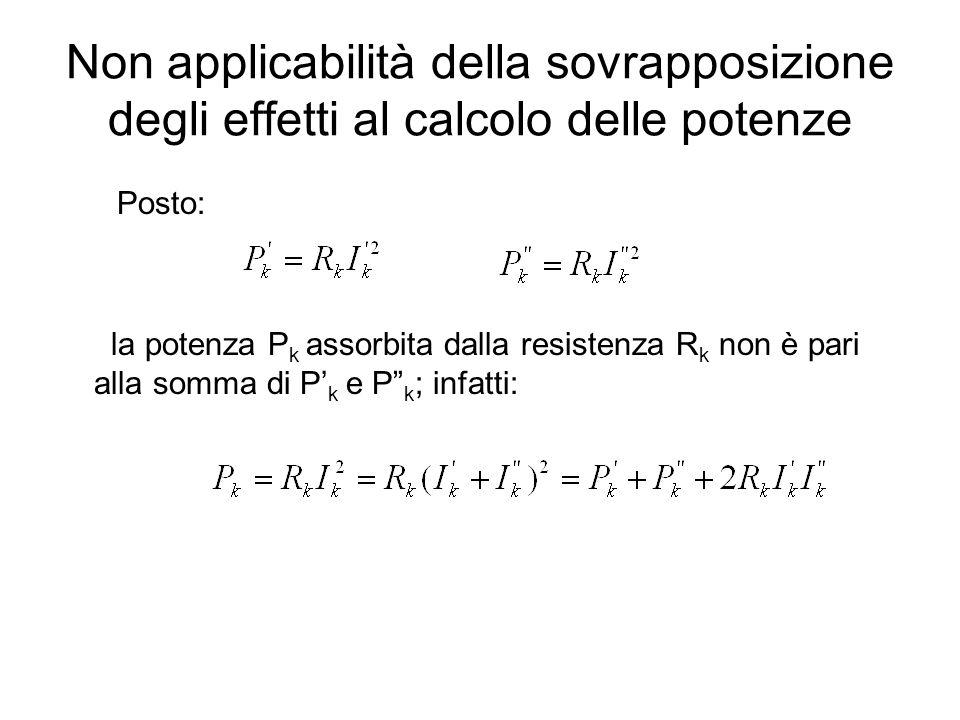Non applicabilità della sovrapposizione degli effetti al calcolo delle potenze Posto: la potenza P k assorbita dalla resistenza R k non è pari alla so