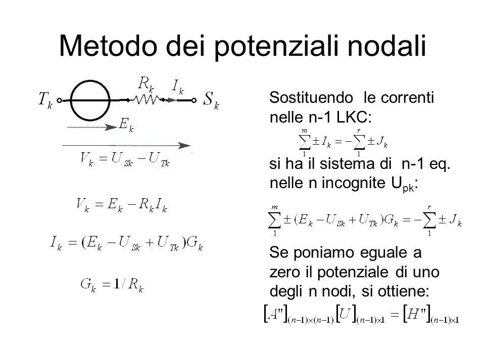 Metodo dei potenziali nodali Sostituendo le correnti nelle n-1 LKC: si ha il sistema di n-1 eq. nelle n incognite U pk : Se poniamo eguale a zero il p