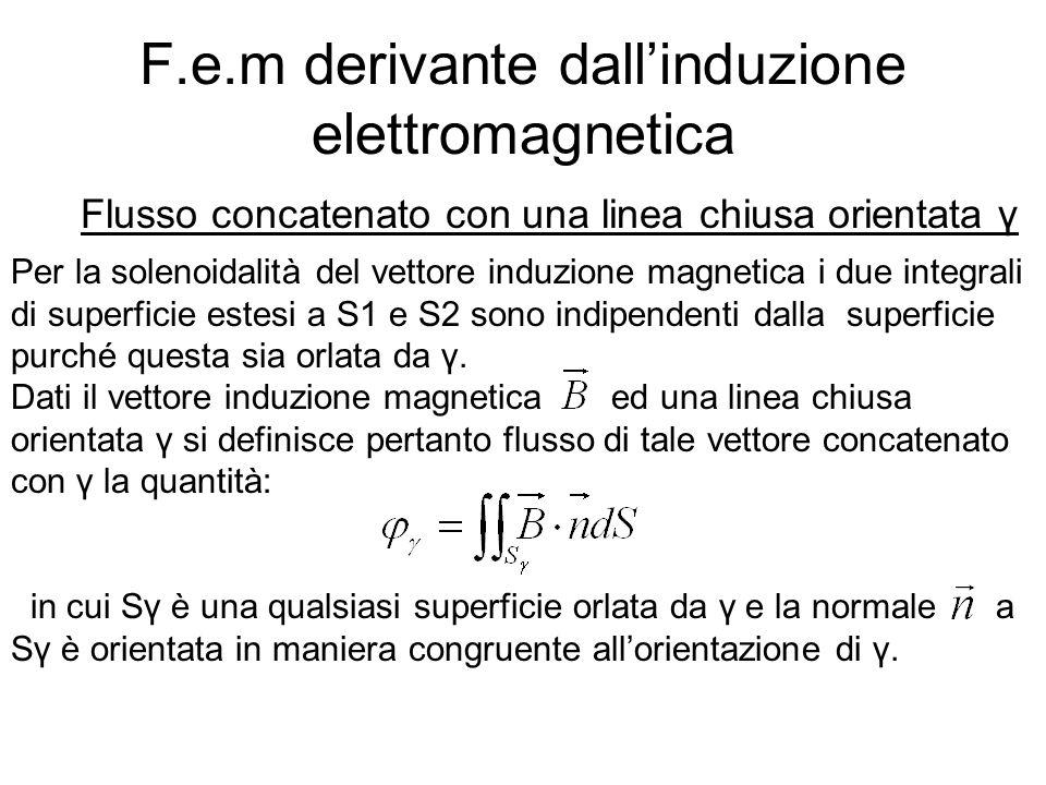 F.e.m derivante dallinduzione elettromagnetica Flusso concatenato con una linea chiusa orientata γ Per la solenoidalità del vettore induzione magnetic