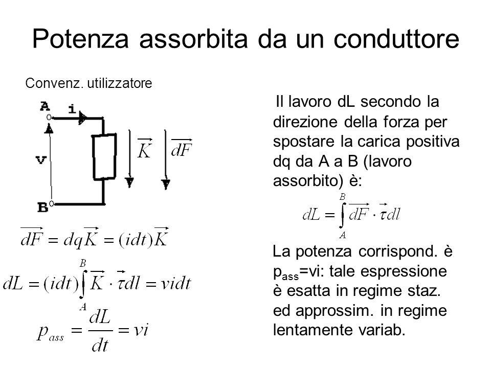 Potenza assorbita da un conduttore Il lavoro dL secondo la direzione della forza per spostare la carica positiva dq da A a B (lavoro assorbito) è: La