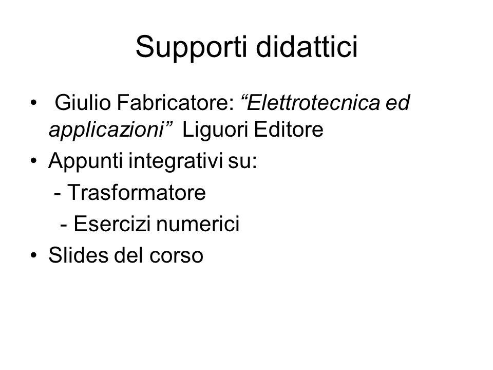 Supporti didattici Giulio Fabricatore: Elettrotecnica ed applicazioni Liguori Editore Appunti integrativi su: - Trasformatore - Esercizi numerici Slid