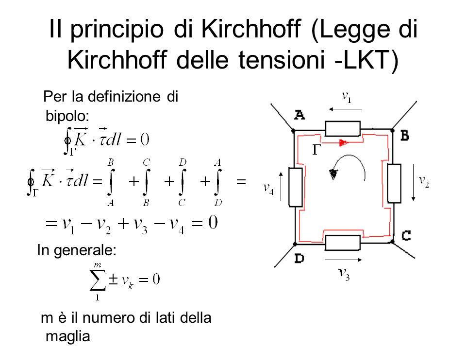 II principio di Kirchhoff (Legge di Kirchhoff delle tensioni -LKT) Per la definizione di bipolo: In generale: m è il numero di lati della maglia