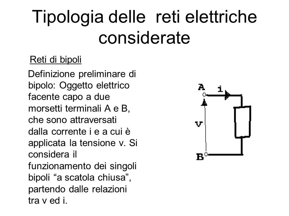 Definizione di bipolo Si definisce bipolo un oggetto elettrico racchiuso da una superficie S, da cui fuoriescano due morsetti A e B; S sia scelta in maniera tale che: 1) i A =i B ; 2) sia conservativo su S e nelle sue immediate vicinanze; 3) vi sia assenza di forze di natura non elettrica.