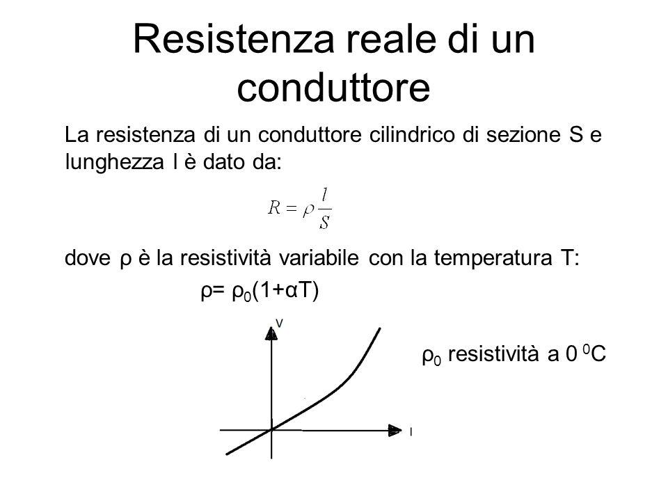 Resistenza reale di un conduttore La resistenza di un conduttore cilindrico di sezione S e lunghezza l è dato da: dove ρ è la resistività variabile co
