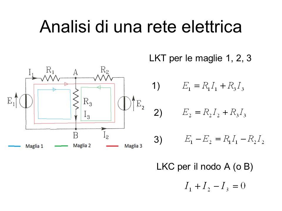 Analisi di una rete elettrica LKT per le maglie 1, 2, 3 1) 2) 3) LKC per il nodo A (o B)