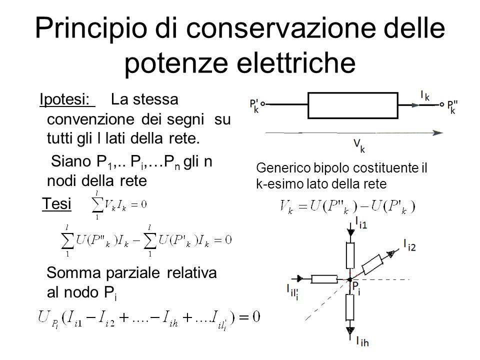 Principio di conservazione delle potenze elettriche Ipotesi: La stessa convenzione dei segni su tutti gli l lati della rete. Siano P 1,.. P i,…P n gli