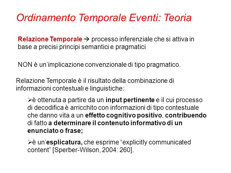 Relazione Temporale processo inferenziale che si attiva in base a precisi principi semantici e pragmatici NON è unimplicazione convenzionale di tipo p