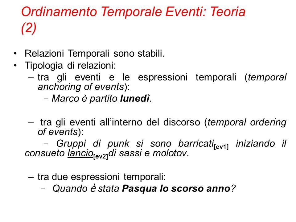 Relazioni Temporali sono stabili. Tipologia di relazioni: –tra gli eventi e le espressioni temporali (temporal anchoring of events): - Marco è partito