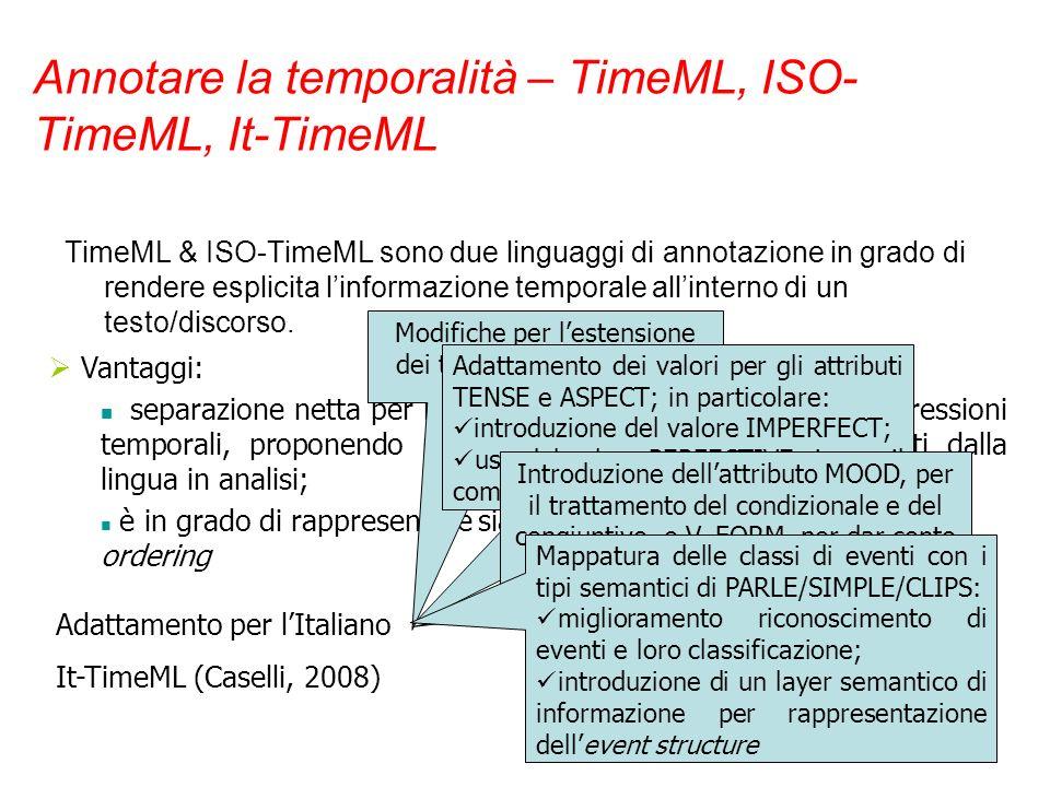 TimeML & ISO-TimeML sono due linguaggi di annotazione in grado di rendere esplicita linformazione temporale allinterno di un testo/discorso. Vantaggi: