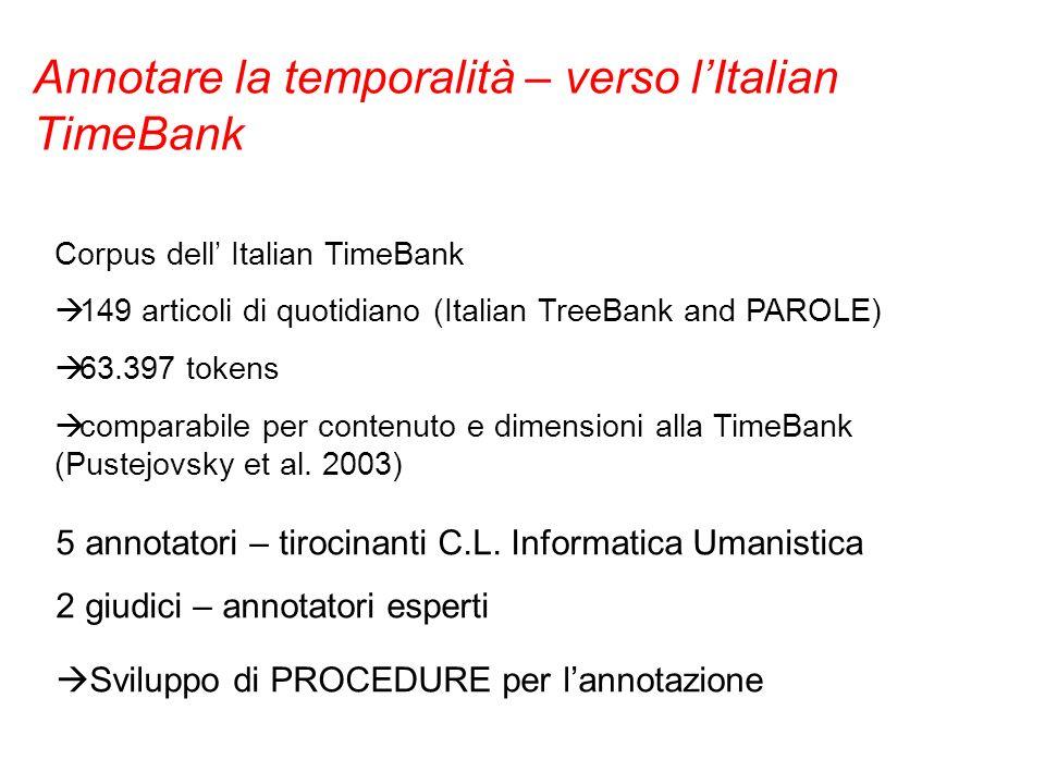 Corpus dell Italian TimeBank 149 articoli di quotidiano (Italian TreeBank and PAROLE) 63.397 tokens comparabile per contenuto e dimensioni alla TimeBa