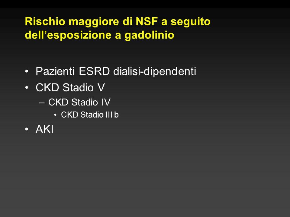Rischio maggiore di NSF a seguito dellesposizione a gadolinio Pazienti ESRD dialisi-dipendenti CKD Stadio V –CKD Stadio IV CKD Stadio III b AKI