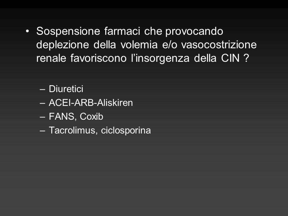 Sospensione farmaci che provocando deplezione della volemia e/o vasocostrizione renale favoriscono linsorgenza della CIN ? –Diuretici –ACEI-ARB-Aliski