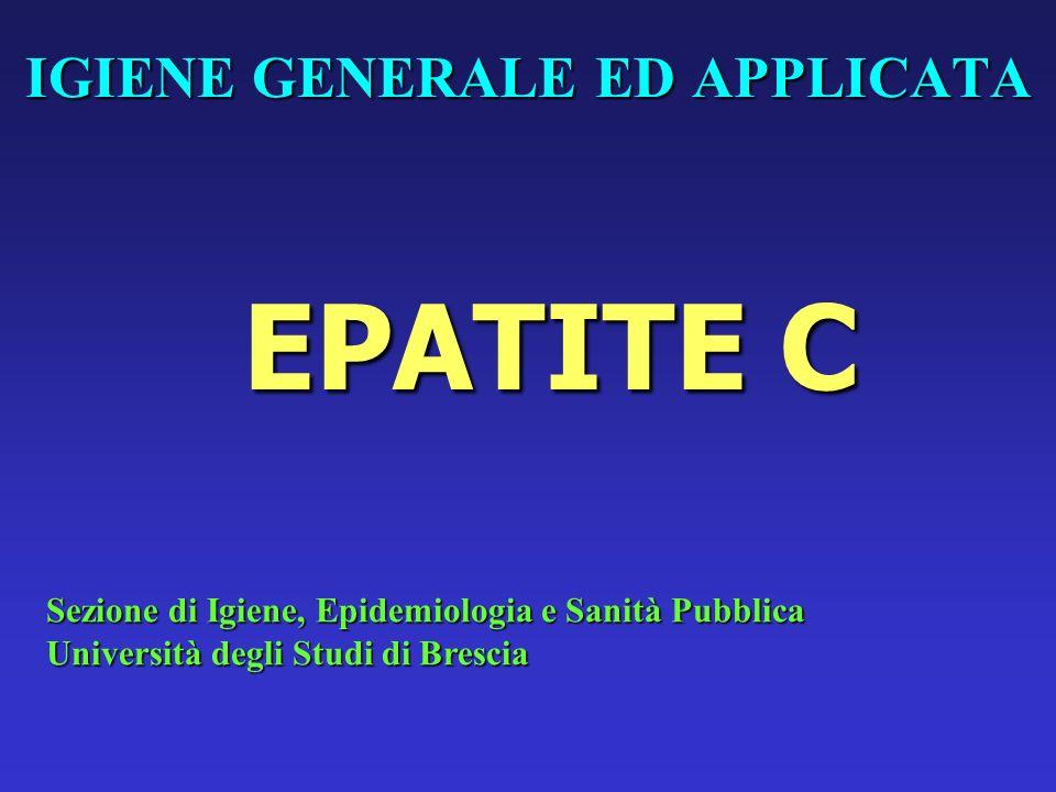 VIRUS DELLA EPATITE C (HCV) FAMIGLIA: FLAVIVIRIDAEFAMIGLIA: FLAVIVIRIDAE GENERE: HEPACIVIRUSGENERE: HEPACIVIRUS VIRIONE: E COSTITUITO DA UN INVOLUCRO PERICAPSIDICO DI 40-50 nm CHE AVVOLGE IL NUCLEOCAPSIDEVIRIONE: E COSTITUITO DA UN INVOLUCRO PERICAPSIDICO DI 40-50 nm CHE AVVOLGE IL NUCLEOCAPSIDE PROTEINE STRUTTURALI: C (CORE), E1, E2 (ENVELOPE)PROTEINE STRUTTURALI: C (CORE), E1, E2 (ENVELOPE) GENOMA: RNA (+), 9.600 ntGENOMA: RNA (+), 9.600 nt REPLICAZIONE CITOPLASMATICAREPLICAZIONE CITOPLASMATICA