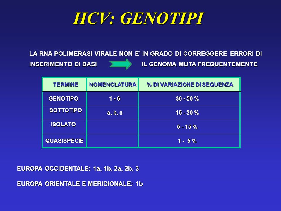 HCV: VARIABILITA GENOMICA LA CARATTERISTICA PIU IMPORTANTE E LA VARIABILITA GENOMICA LA CARATTERISTICA PIU IMPORTANTE E LA VARIABILITA GENOMICA HCV NON E MAI PRESENTE IN VIVO COME POPOLAZIONE OMOGENEA, MA COME QUASISPECIE HCV NON E MAI PRESENTE IN VIVO COME POPOLAZIONE OMOGENEA, MA COME QUASISPECIE LE MUTAZIONI PIU FREQUENTI SONO NELLA REGIONE CHE CODIFICA PER LE PROTEINE DELLENVELOPE (E1, E2) LE MUTAZIONI PIU FREQUENTI SONO NELLA REGIONE CHE CODIFICA PER LE PROTEINE DELLENVELOPE (E1, E2) SELEZIONE DEI MUTANTI NON RICONOSCIUTI DAL SISTEMA IMMUNE SELEZIONE DEI MUTANTI NON RICONOSCIUTI DAL SISTEMA IMMUNE I MUTANTI ESCAPE SONO RESPONSABILI DELLEPATITE CRONICA I MUTANTI ESCAPE SONO RESPONSABILI DELLEPATITE CRONICA I GENOTIPI 1 E 4 PRESENTANO UNA SCARSA RISPOSTA ALLA TERAPIA ANTIVIRALE (GENOTIPI SFAVOREVOLI) I GENOTIPI 1 E 4 PRESENTANO UNA SCARSA RISPOSTA ALLA TERAPIA ANTIVIRALE (GENOTIPI SFAVOREVOLI)