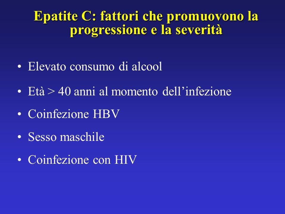Indagini routinarie per HCV non raccomandate (fattori di rischio non identificati) Operatori sanitari e operatori di pubblica sicurezza Contatti familiari (eccetto partners sessuali) di soggetti HCV-positivi Popolazione generale