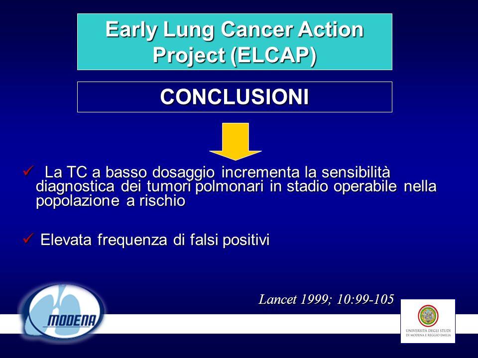 La TC a basso dosaggio incrementa la sensibilità diagnostica dei tumori polmonari in stadio operabile nella popolazione a rischio La TC a basso dosagg