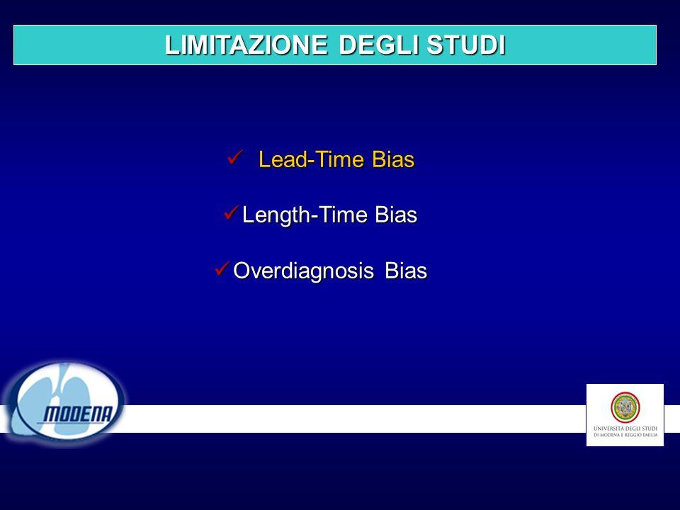 Lead-Time Bias Lead-Time Bias Length-Time Bias Length-Time Bias Overdiagnosis Bias Overdiagnosis Bias LIMITAZIONE DEGLI STUDI