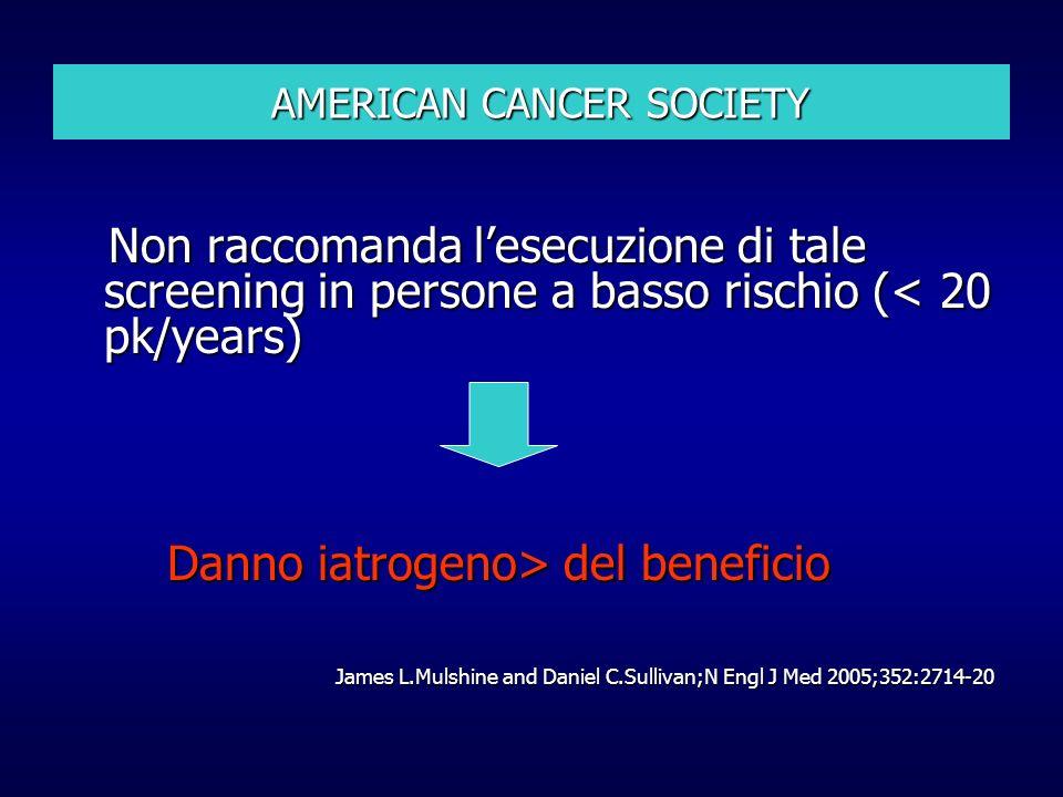 AMERICAN CANCER SOCIETY AMERICAN CANCER SOCIETY Non raccomanda lesecuzione di tale screening in persone a basso rischio (< 20 pk/years) Non raccomanda