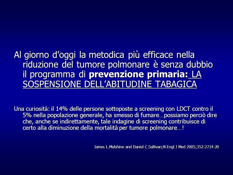 Al giorno doggi la metodica più efficace nella riduzione del tumore polmonare è senza dubbio il programma di prevenzione primaria: LA SOSPENSIONE DELL