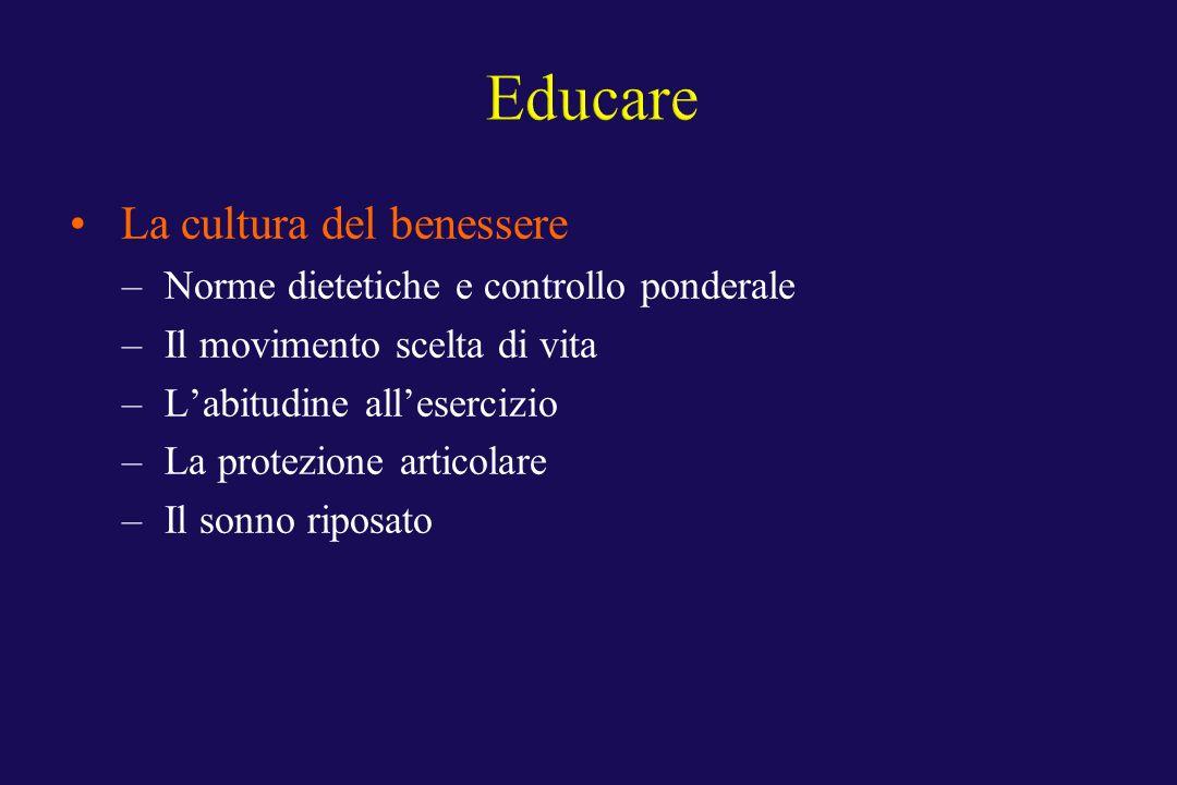 La cultura del benessere – Norme dietetiche e controllo ponderale – Il movimento scelta di vita – Labitudine allesercizio – La protezione articolare –