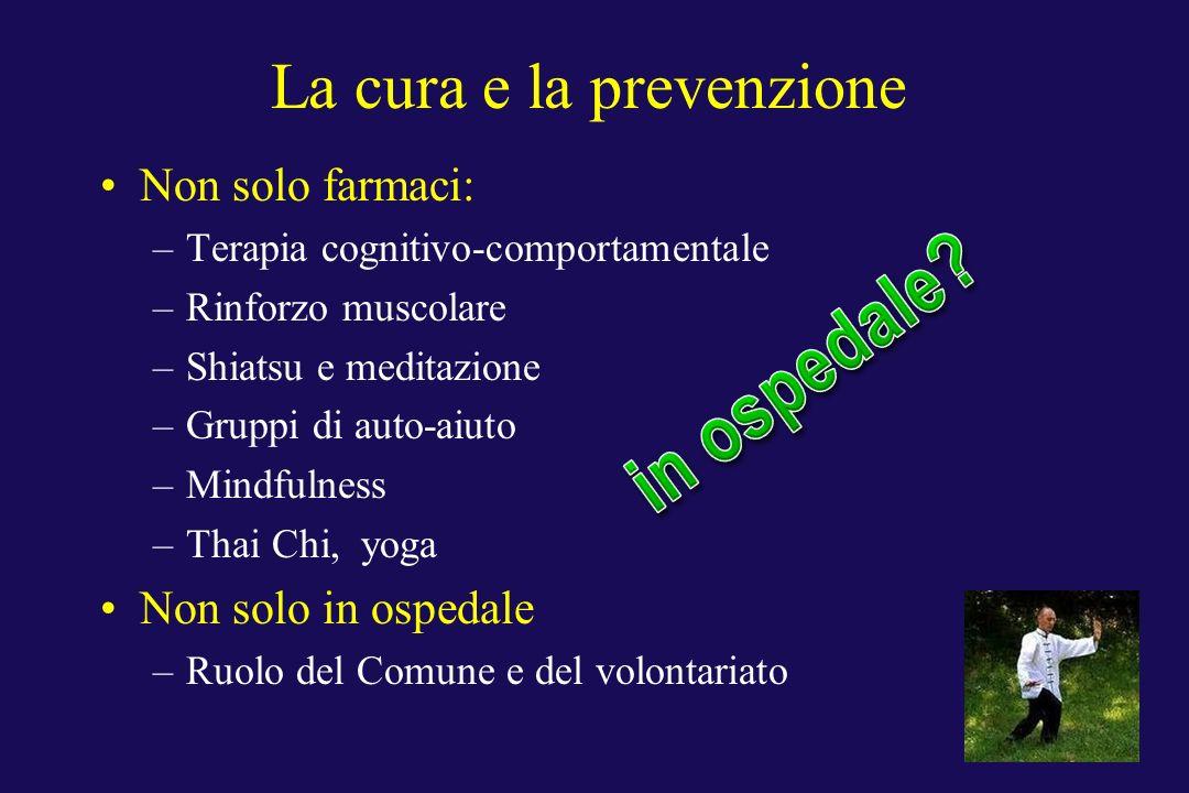 La cura e la prevenzione Non solo farmaci: –Terapia cognitivo-comportamentale –Rinforzo muscolare –Shiatsu e meditazione –Gruppi di auto-aiuto –Mindfu
