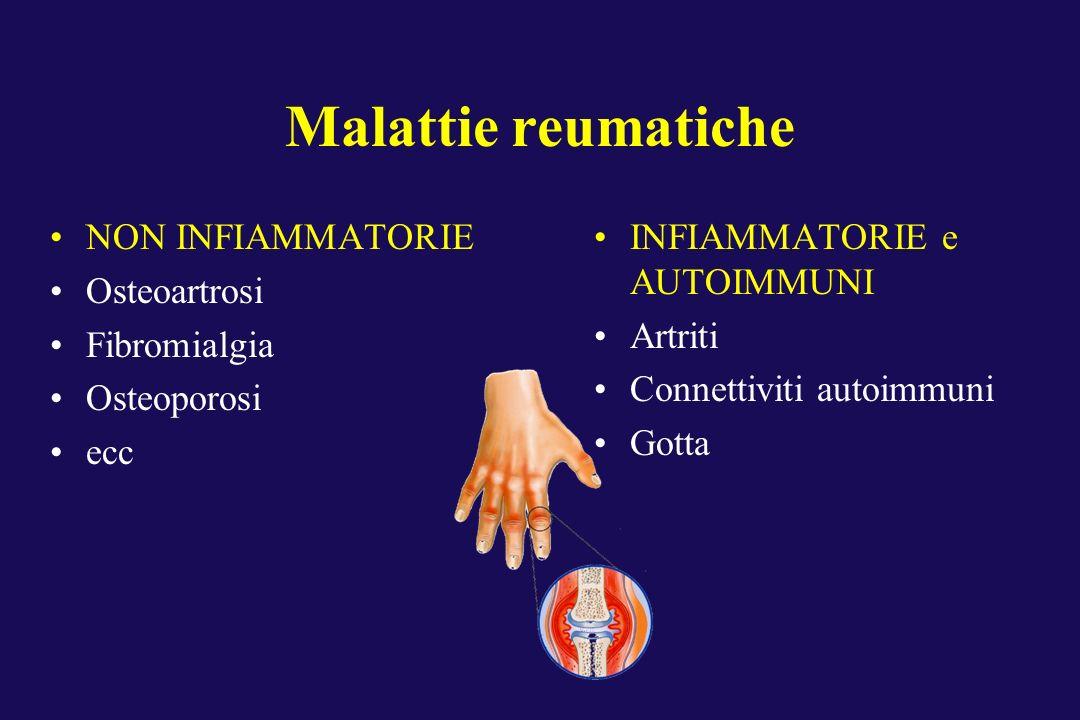 Malattie reumatiche NON INFIAMMATORIE Osteoartrosi Fibromialgia Osteoporosi ecc INFIAMMATORIE e AUTOIMMUNI Artriti Connettiviti autoimmuni Gotta