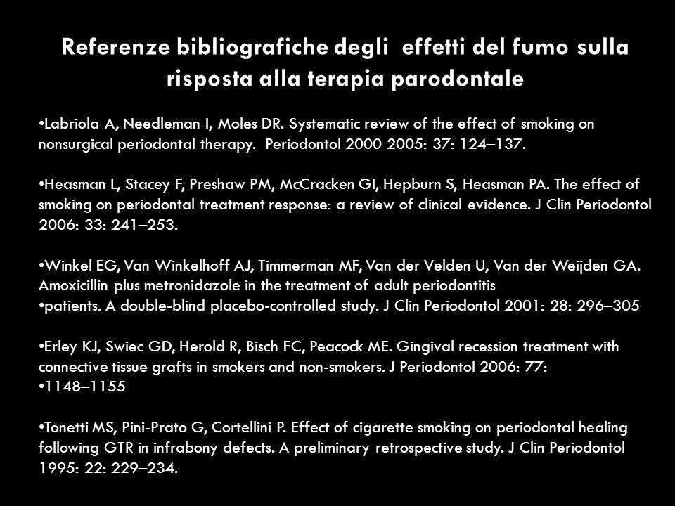 Referenze bibliografiche degli effetti del fumo sulla risposta alla terapia parodontale Labriola A, Needleman I, Moles DR. Systematic review of the ef