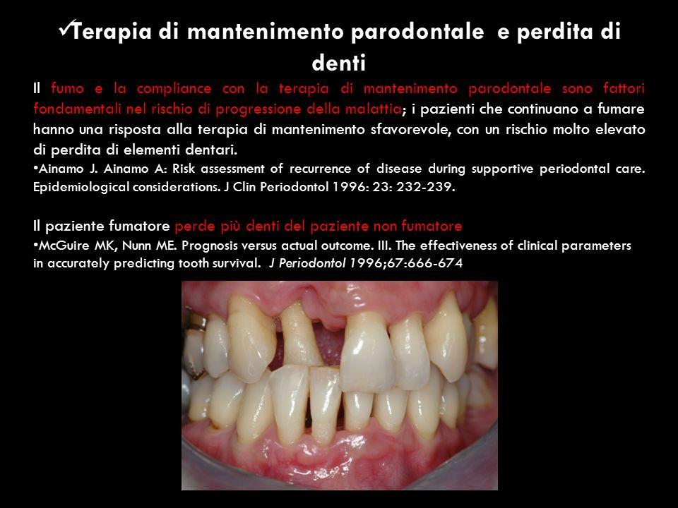 Terapia di mantenimento parodontale e perdita di denti Il fumo e la compliance con la terapia di mantenimento parodontale sono fattori fondamentali ne