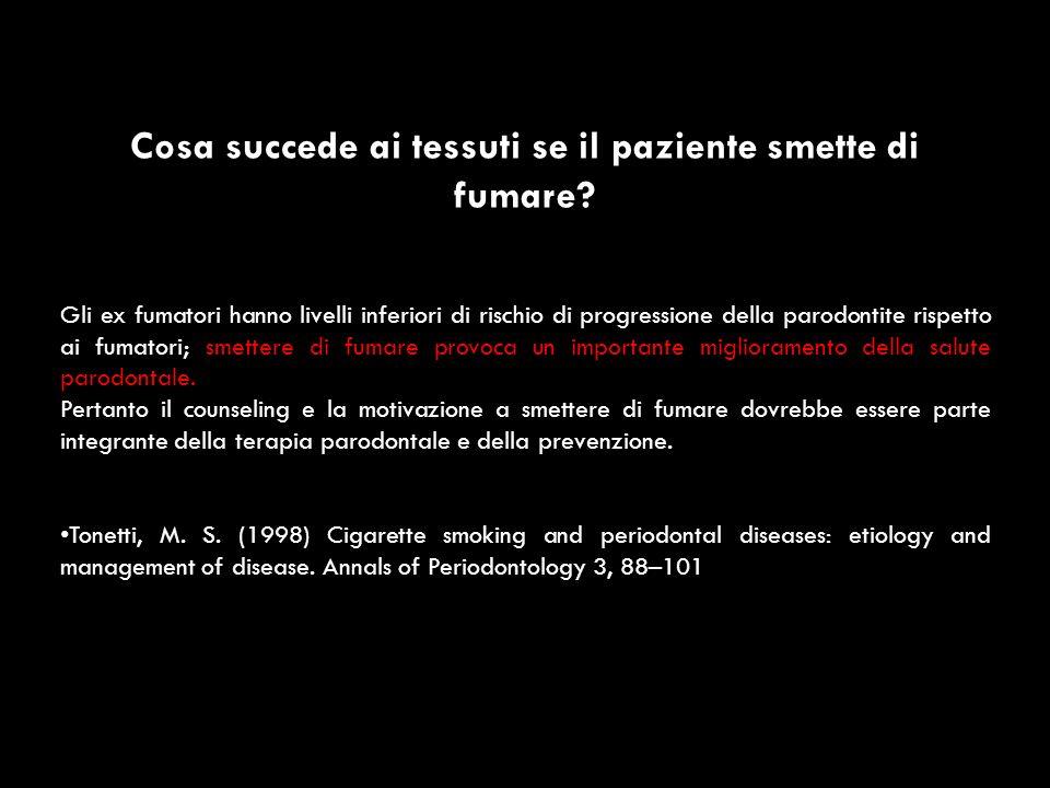 Cosa succede ai tessuti se il paziente smette di fumare? Gli ex fumatori hanno livelli inferiori di rischio di progressione della parodontite rispetto