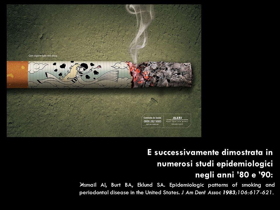 E successivamente dimostrata in numerosi studi epidemiologici negli anni 80 e 90: Ismail AI, Burt BA, Eklund SA. Epidemiologic patterns of smoking and