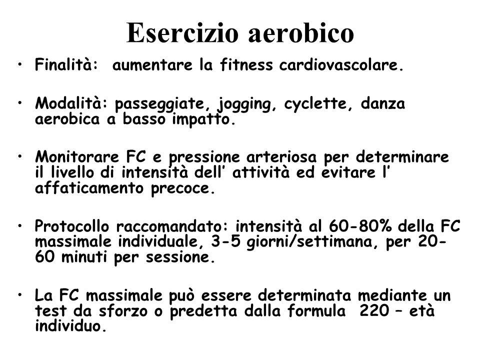Esercizio aerobico Finalità: aumentare la fitness cardiovascolare. Modalità: passeggiate, jogging, cyclette, danza aerobica a basso impatto. Monitorar