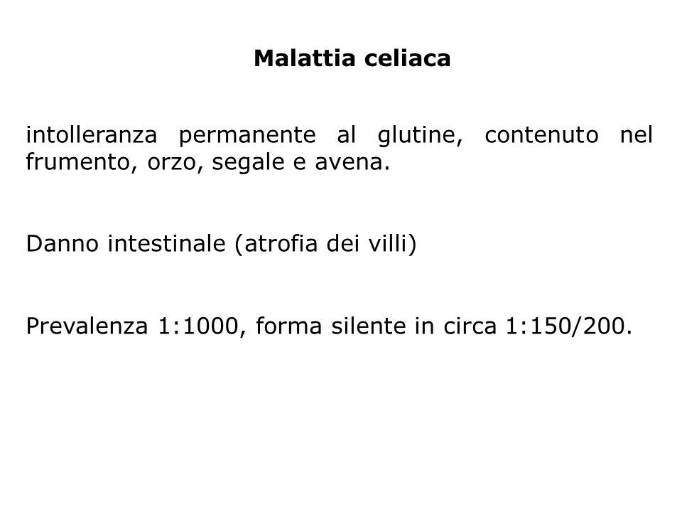 intolleranza permanente al glutine, contenuto nel frumento, orzo, segale e avena. Danno intestinale (atrofia dei villi) Prevalenza 1:1000, forma silen