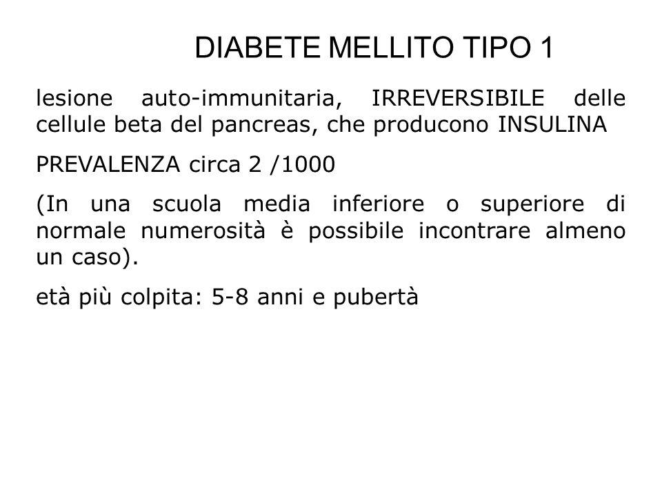 DIABETE MELLITO TIPO 1 lesione auto-immunitaria, IRREVERSIBILE delle cellule beta del pancreas, che producono INSULINA PREVALENZA circa 2 /1000 (In un