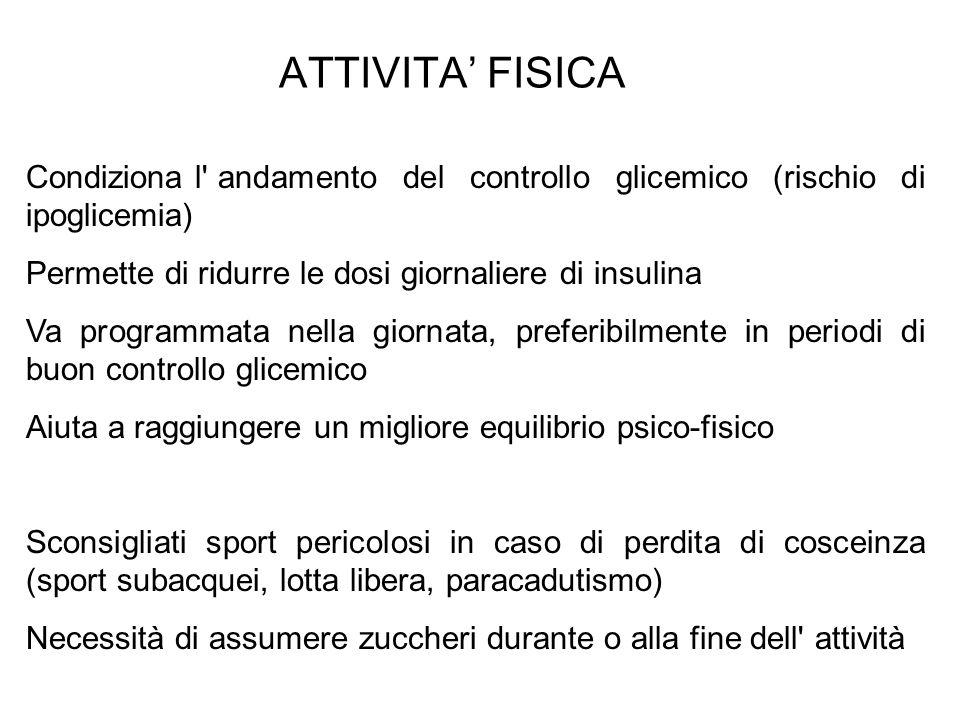 ATTIVITA FISICA Condiziona l' andamento del controllo glicemico (rischio di ipoglicemia) Permette di ridurre le dosi giornaliere di insulina Va progra