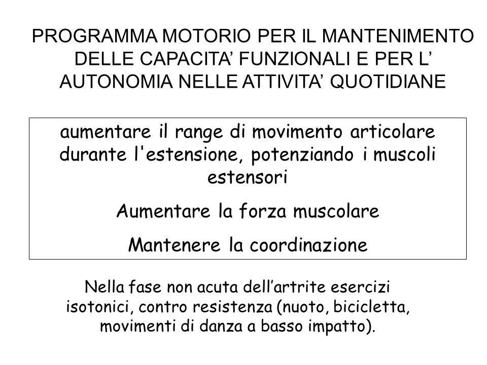 PROGRAMMA MOTORIO PER IL MANTENIMENTO DELLE CAPACITA FUNZIONALI E PER L AUTONOMIA NELLE ATTIVITA QUOTIDIANE aumentare il range di movimento articolare