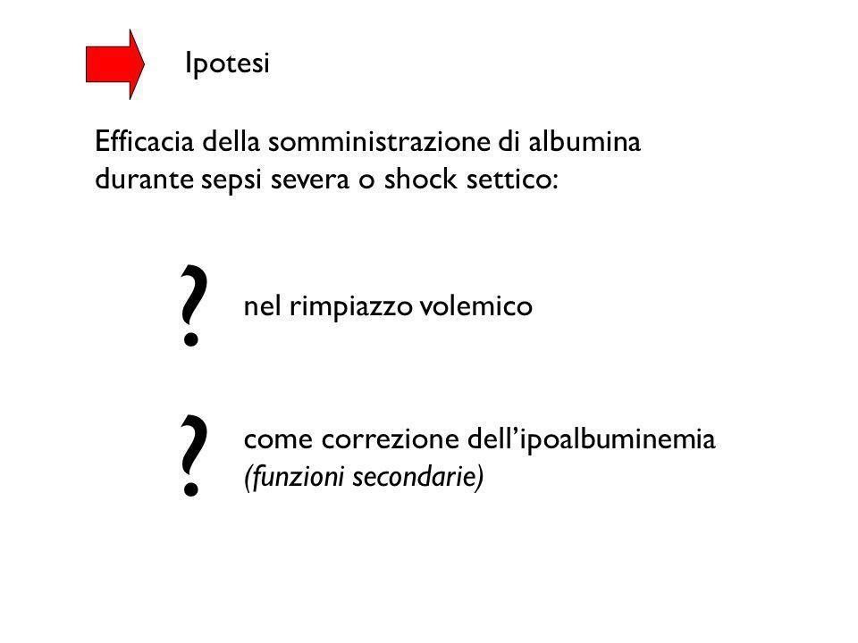 Ipotesi ? ? nel rimpiazzo volemico come correzione dellipoalbuminemia (funzioni secondarie) Efficacia della somministrazione di albumina durante sepsi